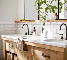 Benchwright Double Sink Vanity – Double Bathroom Vanity Designs Ideas - A double trough sink bathroom vanity has .Double Bathroom Vanity Designs Ideas - A double trough sink bathroom vanity has actually basins recessed Boho Bathroom, Bathroom Styling, White Bathroom, Bathroom Faucets, Bathroom Cabinets, Remodel Bathroom, Bathroom Renovations, Bathroom Mirrors, Marble Bathrooms