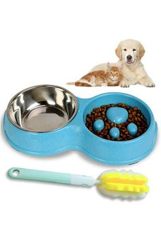 (This is an affiliate pin) Color:BlueWhy You Should Choose Slow Feed Dog Bowl? Slow Eating Bowl is specifically designed to 3X slow down feeding speed and 3X aid digestion! What's more, your dog will not be frustrating. Help control canine obesity and calory controlled diet. Slow Feeder Bowl for Small Dogs and Cats,Fun Feeder Anti-Choking Bowl with Stainless Steel Water Bowl,Non-slip Design,Easy to Clean. Free Gift Sponge cleaning brush, and long durable handle could easy to clean the entir... Slow Feeder, Cat Feeder, Brush Cleaner, Cool Cats, Small Dogs, Dog Bowls, Pet Supplies, Dog Cat, Steel Water