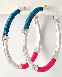 Fuchsia & Turquoise Wrapped Hoop #Earrings $7 at rbelleboutique.com