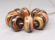 Batura Sar Swirls   10 Handmade Lampwork Beads SW by GardenOfBeads