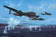 """Gibson, Young and Martin"" - by Simon W. Atack > This is the moment Sqn. Ldr. HM ""Dinghy"" Young attacks the Mohne Dam, flying Avro Lancaster ED877, AJ-A (Apple) in the early morning of May 17th 1943."
