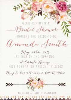 Bridal Shower Invitation Watercolor Flower Rustic Printable | Etsy 2nd Baby Showers, Baby Shower Bingo, Baby Shower Invites For Girl, Bridal Shower Invitations, Watercolor Invitations, Digital Invitations, Printable Invitations, Baby Shower Invitaciones, Wishes For Baby