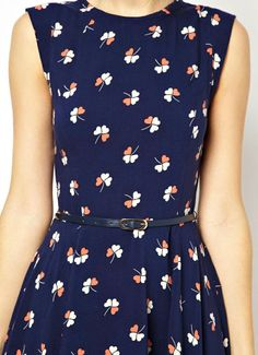 Lovely floral navy mini dress with belt