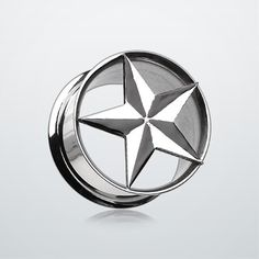 Nautical Star Hollow Steel Double Flared Ear Gauge Plug