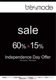 tresmode Sale - Independence Day Offer - 60% + 15% off from 14 to 18 August 2013 | Deals, Sales, Offers, Discounts in Mumbai | mallsmarket.com