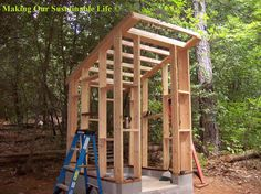 Build a summer Outhouse- composting toilet and possibly on demand shower?lots of windows/screens & ventilation.with wind chimes on the outside,,,, Outdoor Bathrooms, Outdoor Baths, Outdoor Showers, Building An Outhouse, Outhouse Bathroom, Outdoor Toilet, Pump House, Composting Toilet, Architecture Plan