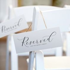 Reserved Wedding Signs, Wedding Welcome Signs, Wedding Thank You Cards, Reserved Seating Wedding, Diy Wedding Signs, Reserved Table Signs, Table Name Cards, Wedding Signage, Wedding Hashtag Sign