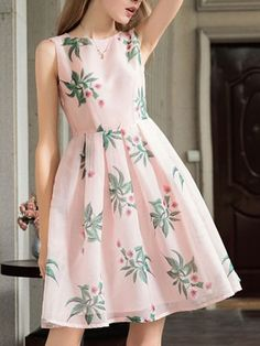 Pink Sheer Striped Floral Leaves Print Bowtie Midi Skater Dress