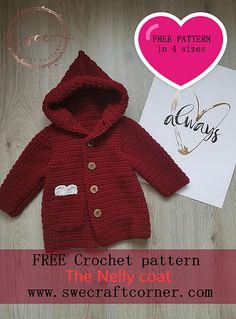 Nelly coat – FREE crochet pattern in 4 sizes – Swecraftcorner See other ideas and pictures from the category menu…. Faneks healthy and active life ideas Crochet Toddler Sweater, Crochet Baby Sweater Pattern, Crochet Baby Jacket, Crochet Baby Sweaters, Baby Sweater Patterns, Crochet Coat, Crochet Baby Clothes, Crochet For Boys, Baby Knitting
