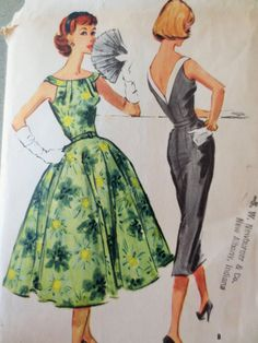 Vintage McCall's 4417 Sewing Pattern, Wiggle Dress, 1950s Dress Pattern, Full Circle Skirt, Bust 38, V Back, Bateau Neckline, Vintage Sewing