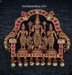22 carat gold antique nakshi work temple jewellery pendants studded with polki diamonds, rubies and emeralds by Navrathan jewellers. Indian Jewellery Design, Indian Jewelry, Jewelry Design, Gold Jewelry For Sale, Trendy Jewelry, Silver Jewelry, Ganesh Pendant, Gold Locket, Temple Jewellery