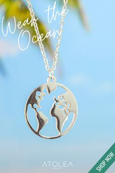 Wear the Ocean! Check out this WORLD NECKLACE. Discover more minimalist and ocean-inspired jewelries from Atolea Jewelry. We offer free shipping anywhere you are! Wear the ocean with style at atoleajewelry.com