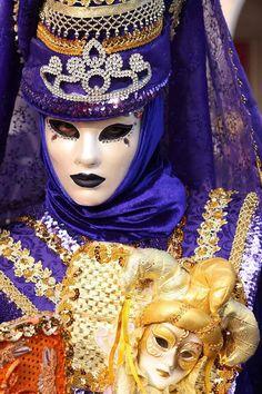 Violet, blue, gold, orange jeweled masquerade