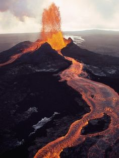 "Kilauea Volcano Erupting (reading James Michener's ""Hawaii."""