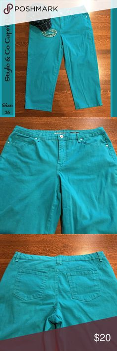 "🆕➕ Style & Co Turquoise Capri Pants These Style & Co capris that are in EUC will brighten up your wardrobe and look great on you all summer long!  Inseam measurement: 23 1/2""  From a smoke-free and happy-to-bundle closet.   The hat and necklace are available in separate listings.    No trades or transactions outside of Poshmark.  [T201] Style & Co Pants Capris"