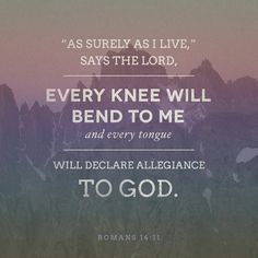 "For the Scriptures say, ""'As surely as I live,' says the Lord , 'every knee will bend to me, and every tongue will declare allegiance to God. '"" Romans 14 NLT http://bible.com/116/rom.14.11.NLT"
