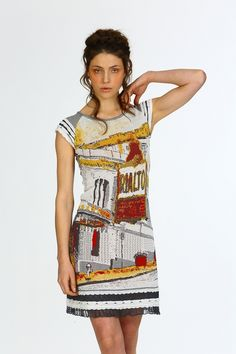 Dress inspired by an Ayline OLUKMAN painting, Rialto - Photo by JL PETIT