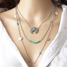 Novos acessórios de moda jóias Lua lantejoulas multi-camada conjunto Colar para amantes casal N336(China (Mainland))