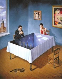 Obviously an artist enamored with Magritte Robert Gonsalves, Surreal Artwork, Canadian Painters, Rene Magritte, Surrealism Painting, Magic Realism, Fantasy Kunst, Art Plastique, Optical Illusions