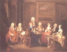 A musical Party painted by William Hogarth (1697-1764) showing the Mathias family at home in 1731 playing Trio Sonatas