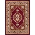 Dulcet Isfahan Medallion Red 2 ft. 7 in. x 3 ft. 11 in. Traditional Area Rug