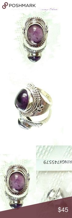 AMETHYST & 925 STERLING SILVER RING  HANDCRAFTED AMETHYST & 925 STERLING SILVER RING THIS IS SUCH A COOL LOOKING RING! Stone type.        Amethyst (Genuine) Metal.                  925 Solid Sterling Silver Head Sz.             16 X 11mm Ring Sz.               8 Wt (w/Mtl).          7.8 gm Jewelry Rings
