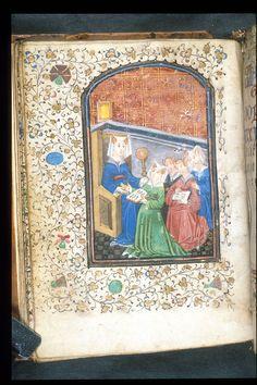 Female teacher. Prayer book with an alphabet and texts for beginning readers Netherlands, S.; c. 1445.