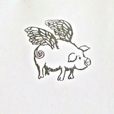 Hey, I found this really awesome Etsy listing at https://www.etsy.com/listing/191687046/flying-pig-looking-right