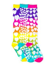 Take a look at this Red & Blue Ombré Hearts Knee-High Socks Set today!