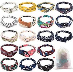 Amazon.com : 18 Pcs Boho Headbands for Women, EAONE Floral Bandeau Headbands Elastic Hair Bands Criss Cross Hair Wrap Hair Accessories with 1PC Pouch Bag : Beauty