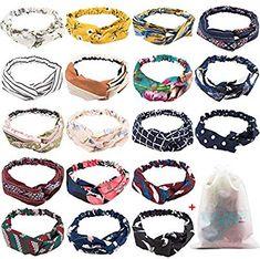 Amazon.com : 18 Pcs Boho Headbands for Women, EAONE Floral Bandeau Headbands Elastic Hair Bands Criss Cross Hair Wrap Hair Accessories with 1PC Pouch Bag : Beauty