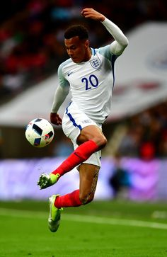 Dele Alli of England controls the ball during the international friendly match between England and Portugal at Wembley Stadium on June 2, 2016 in London, England.