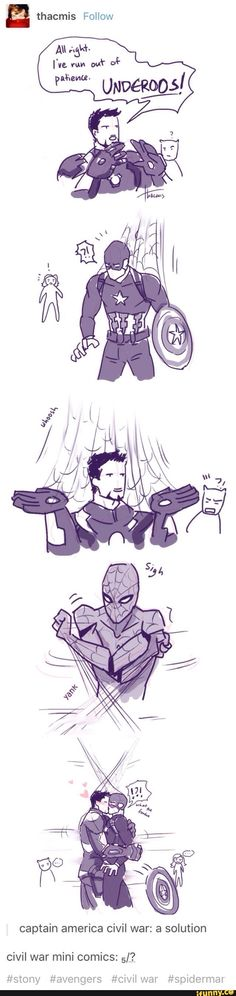 "By the time they break apart, blushing, Clint's gone home with Wanda and she's entertaining the kids with magic, Vision's sitting on the couch making goo-goo eyes at her, Scott's visiting his daughter, telling her how he met CAPTAIN AMERICA, Nat's filled T'Challa in and he's gone home with a promise she'll visit bc they'd be such besties, Rhodey and Sam are complaining to each other, and Bucky and Nat are missing. Peter finds them in the departure lounge, ""catching up"""