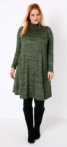 Plus Size Turtle Neck Swing Dress