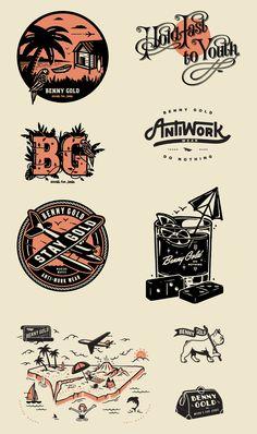 Benny Gold on Behance Logo D'art, Typography Logo, Inspiration Logo Design, Vintage Logo Design, Vintage Logos, Vintage Graphic, Bussiness Card, Affinity Designer, Retro Logos
