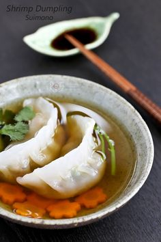 These crystal skin Shrimp Dumpling Suimono (clear soup) are a twist to the traditional dim sum favorite. They make a delicious appetizer. | Food to gladden the heart at RotiNRice.com