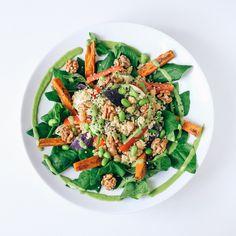 Quinoa. Sweet potato. Chick peas. Edamame. New Zealand spinach.