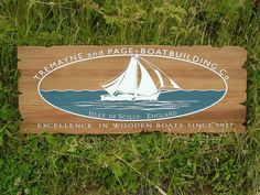 Sandblasted Wooden Signs, Carved Wooden Signs, Laser Engraved Wood - The Grain Wooden Signage, Home Jobs, Wooden Boats, Boat Building, Laser Engraving, Grains, Carving, Island, Outdoor