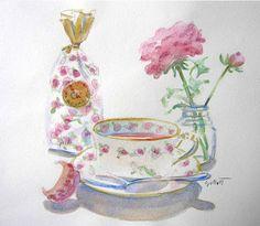 'Rose Tea' watercolor by Carol Gillott at Paris Breakfast.