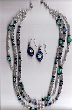 """'Multistrand """"Turquoise"""" Necklace and Earrings Set' is going up for auction at  1pm Sun, Oct 7 with a starting bid of $10."""