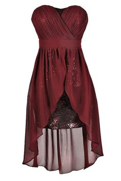Darby Sequin and Chiffon High Low Dress in Burgundy
