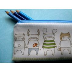 Woodland Animals Pencilcase.  Made from 100% organic cotton.