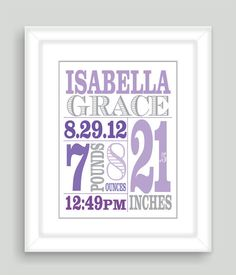Printable DIY Newborn Baby Girl Birth Stats 8x10 Wall Art Print Nursery Gift - PDF File on Wanelo