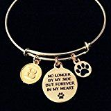 Gold Dog or Cat Memory Bracelet No Longer By My Side But Forever in My Heart Expandable Charm Bangle Adjustable Memorial Pet Loss Gift