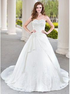 Ball-Gown Sweetheart Cathedral Train Satin Tulle Wedding Dress With Ruffle Lace Beadwork (002000471)