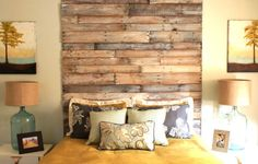 STUNNING headboard by The Rooster and The Hen. This really is so incredible. Made from pallet wood and whitewashed lightly.