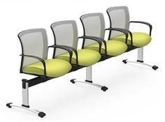Vion 4 Person Mesh Back Beam Chair by Global