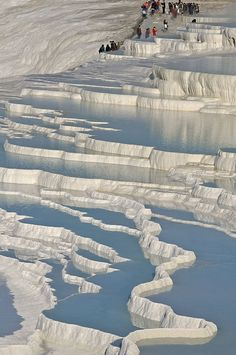 pamukkale, Turkey, thermal pools and salt terraces, looks like mammoth hot springs in Yellowstone