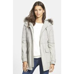 BCBGeneration Faux Fur Trim Hooded Mixed Media Coat ($140) ❤ liked on Polyvore