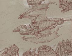 """""""Smaug over Laketown""""      13"""" x 10"""" watercolor pencil and chalk on toned paper  © 2007 Donato Giancola    private collection"""